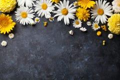 Fleurs de jardin au-dessus du fond en pierre de table Photographie stock libre de droits