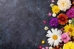 Fleurs de jardin au-dessus du fond en pierre de table Photographie stock