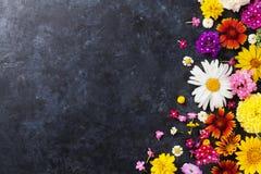Fleurs de jardin au-dessus du fond en pierre de table Photo libre de droits