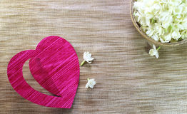 Fleurs de jasmin avec le coeur Image libre de droits
