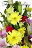 Fleurs de joyeux anniversaire d'isolement Images stock