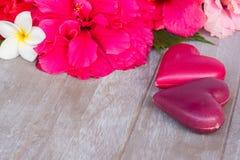 Fleurs de ketmie avec deux coeurs roses Images libres de droits