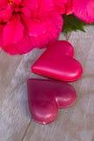 Fleurs de ketmie avec deux coeurs roses Photos stock