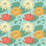 Fleurs de Lotus dans le modèle sans couture Photo stock