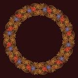 Fleurs de Lotus disposées dans le cadre circulaire complexe Motif décoratif populaire en Asie du sud-est Tatouage Design illustration libre de droits