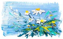 Fleurs de marguerite de peinture à l'huile Photographie stock