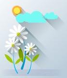 Fleurs de papier abstraites avec le soleil et le nuage Photos libres de droits