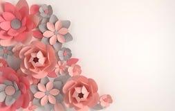 Fleurs de papier colorées sur le fond blanc Saint-Valentin, Pâques, le jour de mère, épousant la carte de voeux 3d rendent le spr illustration stock