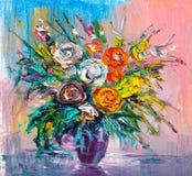 Fleurs de peinture à l'huile Photographie stock