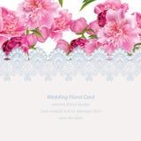 Fleurs de pivoine et carte sensible de dentelle Illustration naturelle fraîche de vecteur de composition en printemps illustration stock