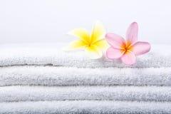 Fleurs de Plumeria sur l'essuie-main blanc images libres de droits