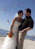 Fleurs de projection de mariage de plage Photo stock