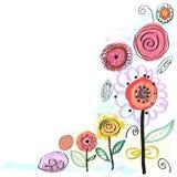 Fleurs de ressort colorées par pastel Carte de voeux florale décorative Illustration tirée par la main de vecteur de fleurs Photos libres de droits