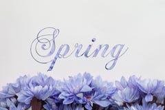 Fleurs de ressort - texte avec des fleurs Images stock