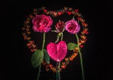 Fleurs de Rose à l'arrière-plan de coeur Image stock