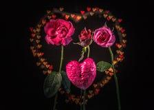 Fleurs de Rose à l'arrière-plan de coeur Images libres de droits