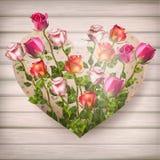 Fleurs de Rose dans la forme de coeur ENV 10 Images stock