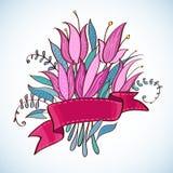 Fleurs de rose de vintage de mariage avec le ruban Photo libre de droits