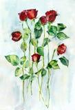 Fleurs de rouge d'aquarelle Photos libres de droits