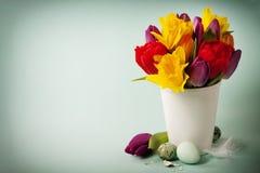 Fleurs de source et oeufs de pâques Photo libre de droits