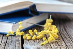 Fleurs de Sping et livres ouverts sur la table Photo stock