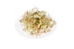 Fleurs de tilleul d'un plat blanc Photo stock