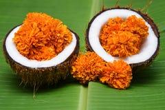 Fleurs de traitement de station thermale de massage d'huile de noix de coco Photos stock