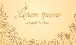 Fleurs des lis et des papillons sur un fond orange Images stock