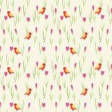 Fleurs douces et modèle sans couture d'oiseau minuscule illustration stock
