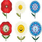 Fleurs drôles avec différentes émotions 010 Image libre de droits
