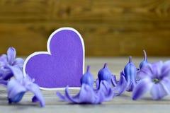 Fleurs en forme de coeur vides de carte de voeux et de jacinthe Photo stock