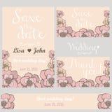 Fleurs en pastel épousant l'invitation Merci carder Image stock