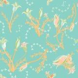 Fleurs en pastel molles sur le fond d'aqua illustration libre de droits