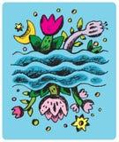 Fleurs et élément de lune/conception/vecteur Illustration Stock