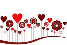 Fleurs et abrégé sur coeurs Images libres de droits