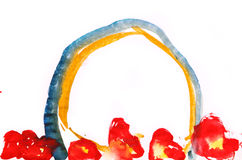Fleurs et art puéril de dessin d'arc-en-ciel d'isolement sur le blanc illustration libre de droits