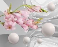 Fleurs et ballons d'abstraction Papier peint stéréoscopique de photo pour l'intérieur rendu 3d illustration de vecteur