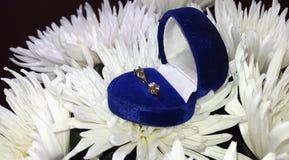 Fleurs et boucles d'oreille blanches de chrysanthèmes Images libres de droits