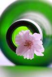 Fleurs et bouteille de cerise Photographie stock