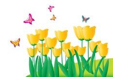 Fleurs et butterfliesr (avec le fichier d'AI) Photos libres de droits