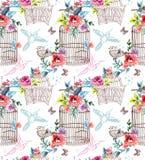 Fleurs et cage à oiseaux d'aquarelle Photo stock