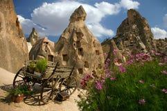 Fleurs et chariot dans Kapadokya Photographie stock libre de droits