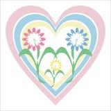 Fleurs et coeur Image stock