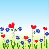 Fleurs et coeurs de bande dessinée Image stock