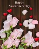Fleurs et coeurs de Rose sur le fond en bois Illustrations heureuses de Valentine Vector Photos stock