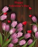 Fleurs et coeurs de tulipe sur le fond en bois Illustrations heureuses de Valentine Vector Images libres de droits