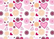 Fleurs et coeurs sans joint Image libre de droits