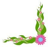 Fleurs et diamants faisants le coin de vue illustration de vecteur