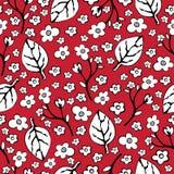 Fleurs et feuilles abstraites modèle sans couture, fond de vecteur Blanc de noir sur un rouge Dessin de main pour la conception d Images stock