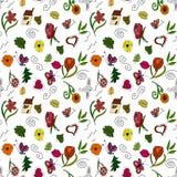 Fleurs et feuilles d'aspiration de main Photos libres de droits